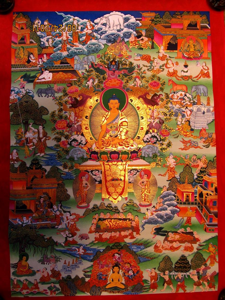 Buddha Life Thangka,Nepali Thangka,Tibetan Thangka